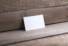 Business cards isolated on old wood background Royalty Free Stock Photo