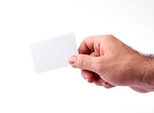 Business cards isolated on white holding in hands Royalty Free Stock Images