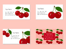 Business Cards with Juicy Ripe Cherry Fruit Royalty Free Stock Photos