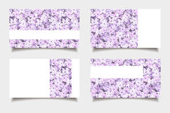 Business cards with lilac flowers. Vector illustration. Stock Photo