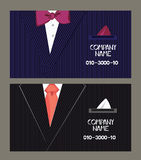 Business cards with the man's suit on the background. Flat vector illustration Royalty Free Stock Photo