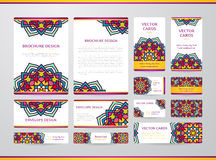 Business cards with mandala. Vector template, tribal theme. Vintage business cards, envelope and brochure collection stock illustration