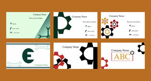 Business cards with mechanical theme. Set of business cards with gear design/logo and spanner design/logo stock illustration