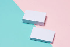 Business cards Mockup on two color background.  Royalty Free Stock Image