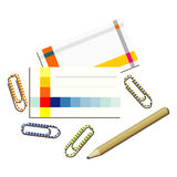 Business cards paper clips and pencil Stock Image