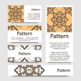 Business cards pattern with Islamic morocco ornament. Stock Photo