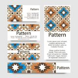Business cards pattern with Islamic morocco ornament. Royalty Free Stock Photo