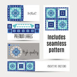 Business cards pattern with morocco ornament Royalty Free Stock Photos