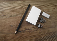 Business cards, pencil and eraser Royalty Free Stock Photo