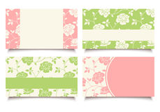 Business cards with pink and green floral pattern. Vector eps-10. Stock Images