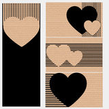 Business cards or postcards of cardboard with hearts. Black Royalty Free Stock Photo