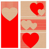 Business cards or postcards of cardboard with hearts. Red Royalty Free Stock Photography