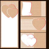 Business cards or postcards of cardboard with hearts. Withe Stock Images