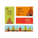 Business cards and promotional flyers with wigwams Stock Photos