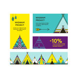 Business cards and promotional flyers with wigwams Royalty Free Stock Photos