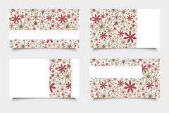 Business cards with red and beige flowers. Vector eps-10. Stock Photo