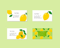 Business Cards with Ripe Juicy Lemon Fruit Stock Images