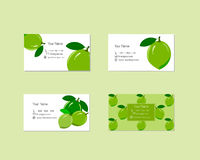 Business Cards with Ripe Juicy Lime Fruit Stock Photo