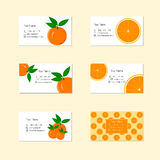 Business Cards with Ripe Juicy Orange Fruit Stock Images