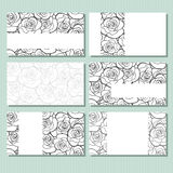 Business cards with roses pattern. Vector illustration. Royalty Free Stock Image