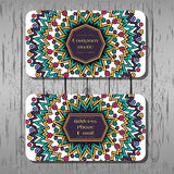 Business cards, round pattern with multicolored poligons, Royalty Free Stock Photos