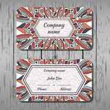 Business cards, round pattern with multicolored shapes Royalty Free Stock Images