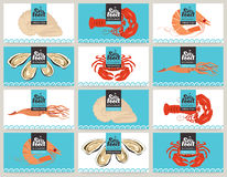 Business cards with seafood royalty free illustration