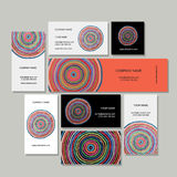 Business cards set, abstract circles design Stock Images