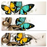 Business cards set with butterflies for design Stock Photo