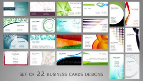 Business cards. Set of business cards designs with many shapes like circles, squares, triangles and other and with many colors Royalty Free Stock Image