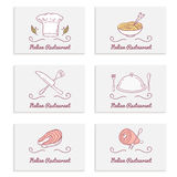 Business cards set with doodle food logos. Hand Royalty Free Stock Photos