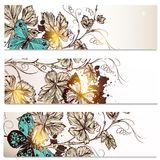 Business cards set in floral style  for design Royalty Free Stock Photography