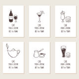 Business cards set with outline hand drawn drinks. Retro style background Royalty Free Stock Images