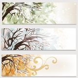 Business cards set with trees Royalty Free Stock Image