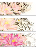 Business Cards Set With Lotus Flowers And Swirl Ornament Royalty Free Stock Photos