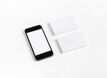 Business cards & smart phone Stock Image