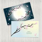 Business cards with stylized cherry blossom. Stock Images