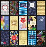 Business cards, tags, invitations templates. Business cards, tags, labels, invitations, etc. templates set of 15 with various patterns and concepts, vertical vector illustration
