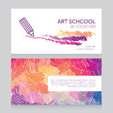 Business cards template for art school Royalty Free Stock Photos