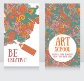 Business cards template for art school stock illustration