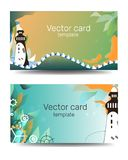 Business cards template in green colors with geometric ornament. Child text frame. Sea banner, template with lighthouse. Cartoon royalty free stock photography