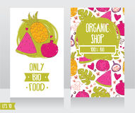 Business cards template for organic foods shop or vegan cafe Royalty Free Stock Image