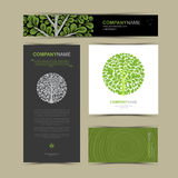 Business cards template with stylized tree. Stock Photo