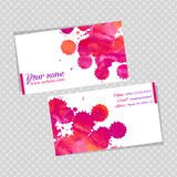 Business cards template with watercolor blots Royalty Free Stock Photo