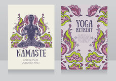 Business cards template for yoga retreat or yoga studio Stock Photography