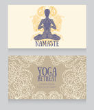 Business cards template for yoga retreat or yoga studio Stock Photo