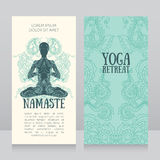 Business cards template for yoga retreat or yoga studio Royalty Free Stock Image