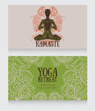 Business cards template for yoga retreat or yoga studio Royalty Free Stock Photography