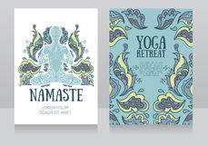 Business cards template for yoga retreat or yoga studio Stock Images