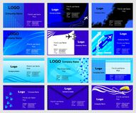 Business cards templates. Collection of vector business cards templates, blue edition Royalty Free Stock Images